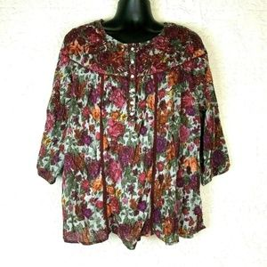 Indigo Floral Print Shirt XL Pink Red Embroidered